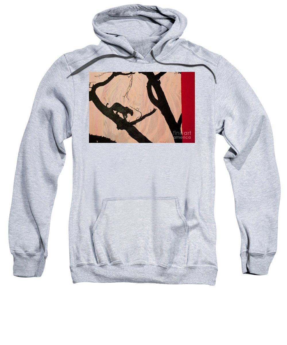 Panther Sweatshirt featuring the painting Eyeing The Panther by Paulette B Wright
