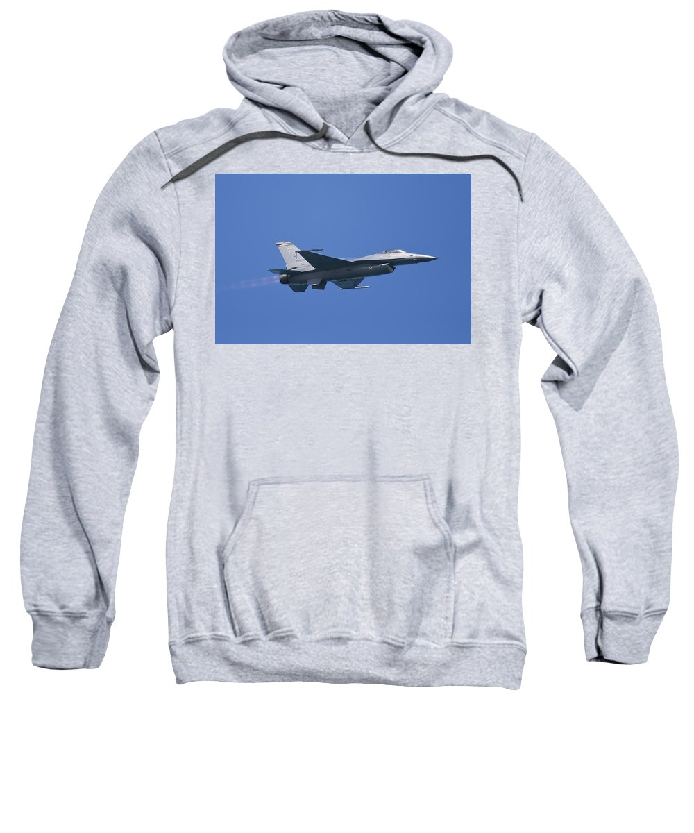 3scape Photos Sweatshirt featuring the photograph F-16 Fighting Falcon by Adam Romanowicz