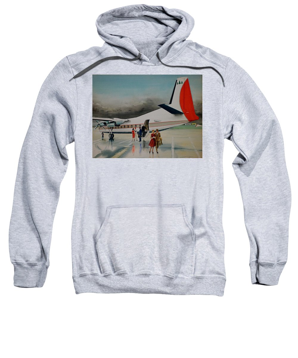 Private F-27 Deplanes After Rainstorm Port Columbus Ohio Sweatshirt featuring the painting F-27 At Columbus Ohio by Frank Hunter