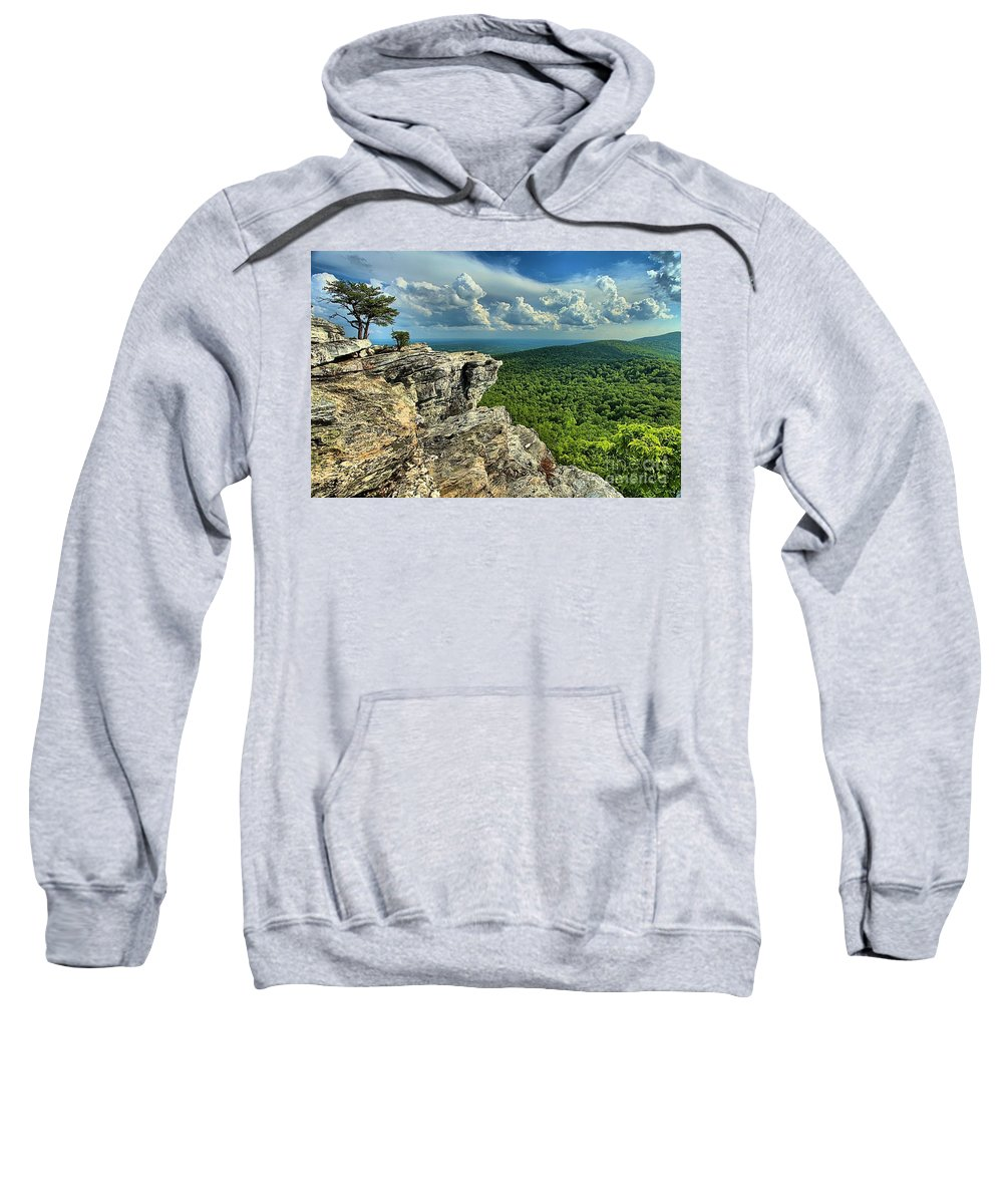 Hanging Rock State Park Sweatshirt featuring the photograph Face In The Cliff by Adam Jewell