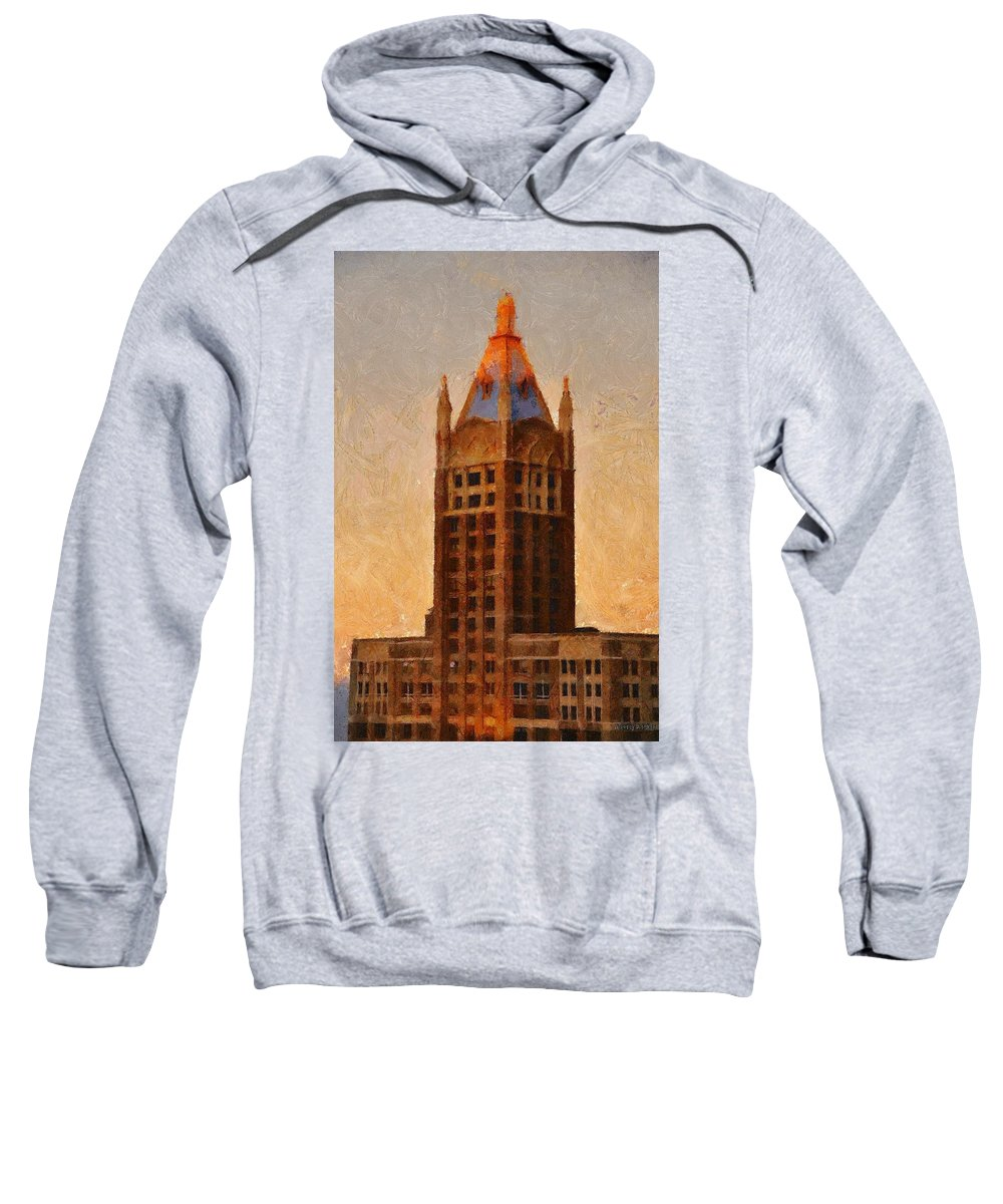 Architecture Sweatshirt featuring the painting Fading Slowly Into Night by Jeffrey Kolker