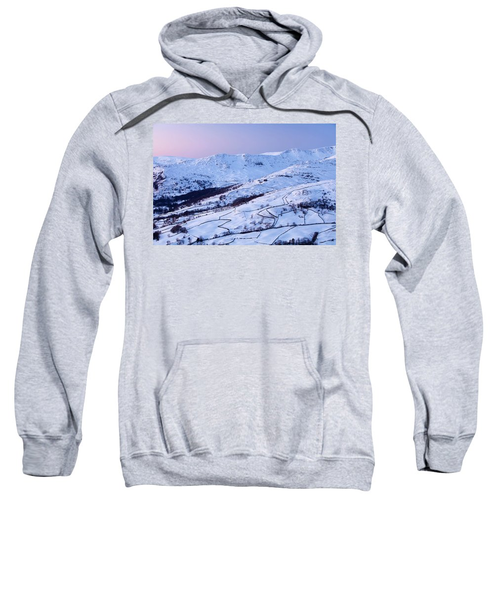 Ambleside Sweatshirt featuring the photograph Fairfield Covered In Snow At Sunset by Ashley Cooper