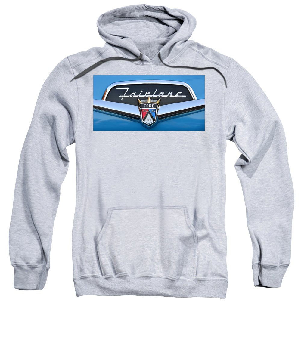 1956 Ford Fairlane Nameplate Sweatshirt featuring the photograph Fairlane Name Plate by David Lee Thompson
