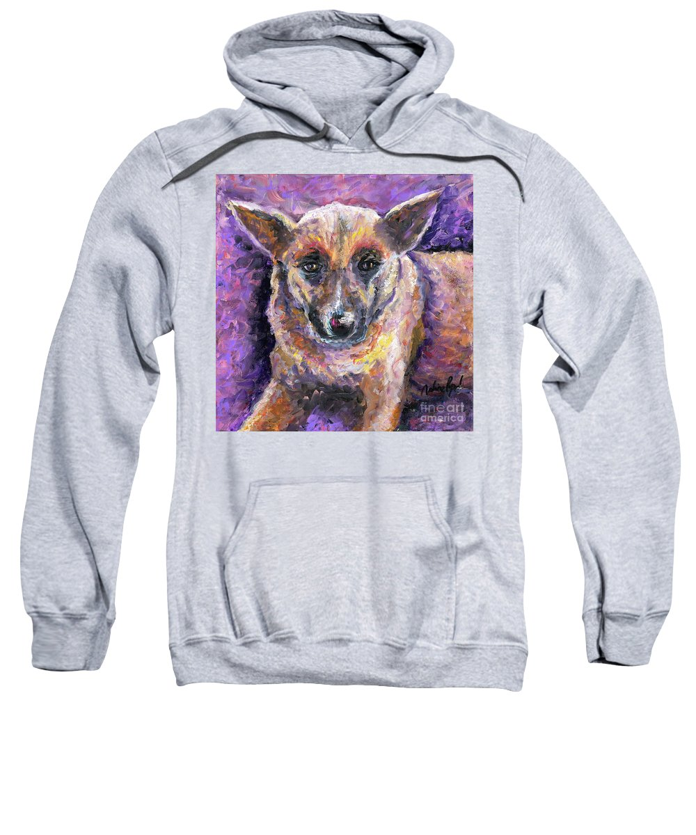 Dog Sweatshirt featuring the painting Faithful Friend by Nadine Rippelmeyer