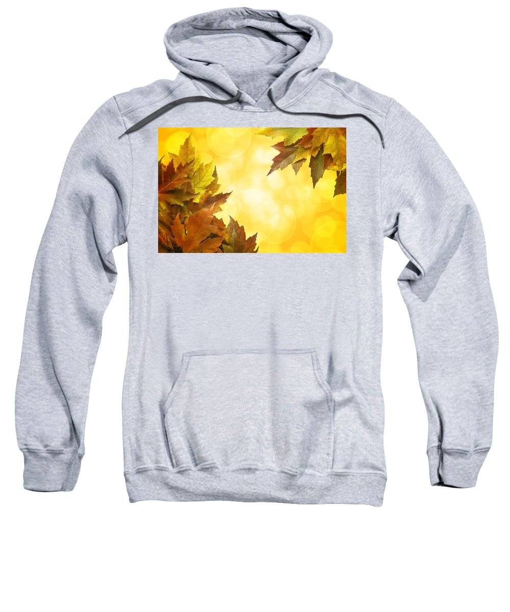 Fall Sweatshirt featuring the photograph Fall Color Maple Leaves Background Border by Jit Lim