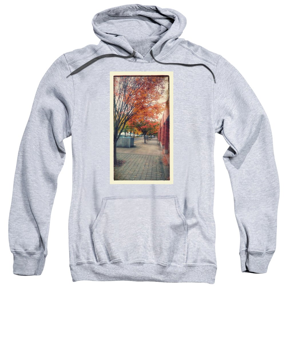 City Streets Sweatshirt featuring the photograph Fall In Downtown Vancouver Washington by Melissa Coffield