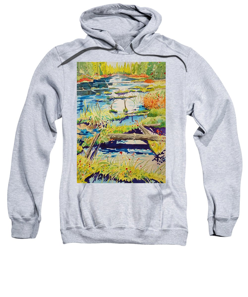 River Sweatshirt featuring the painting Fall River Scene by Terry Holliday
