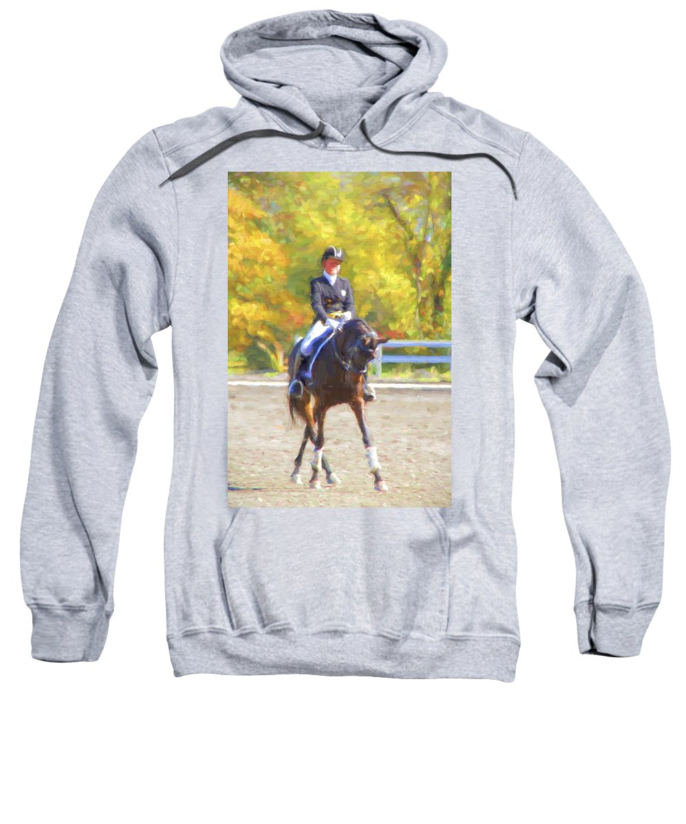 Fairhill International Sweatshirt featuring the photograph Fall Sidepass by Alice Gipson
