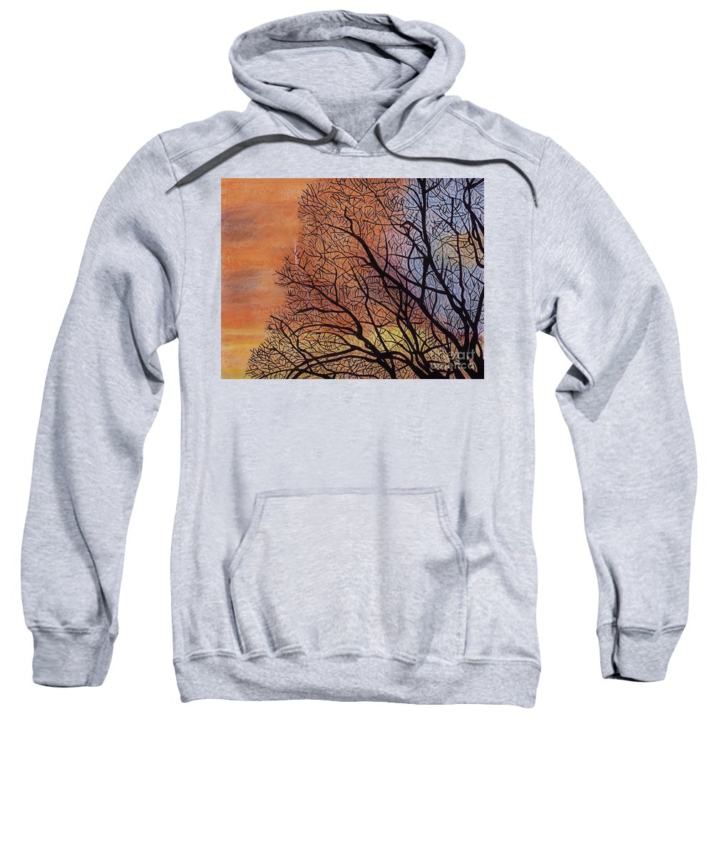 Sunset Sweatshirt featuring the drawing Fall Sunset by D Hackett