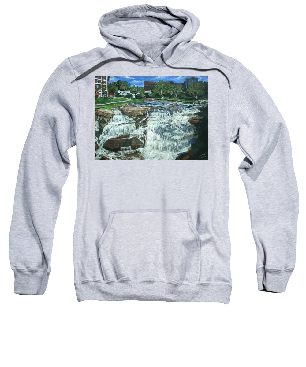 Waterfall Sweatshirt featuring the painting Falls River Park by Bryan Bustard