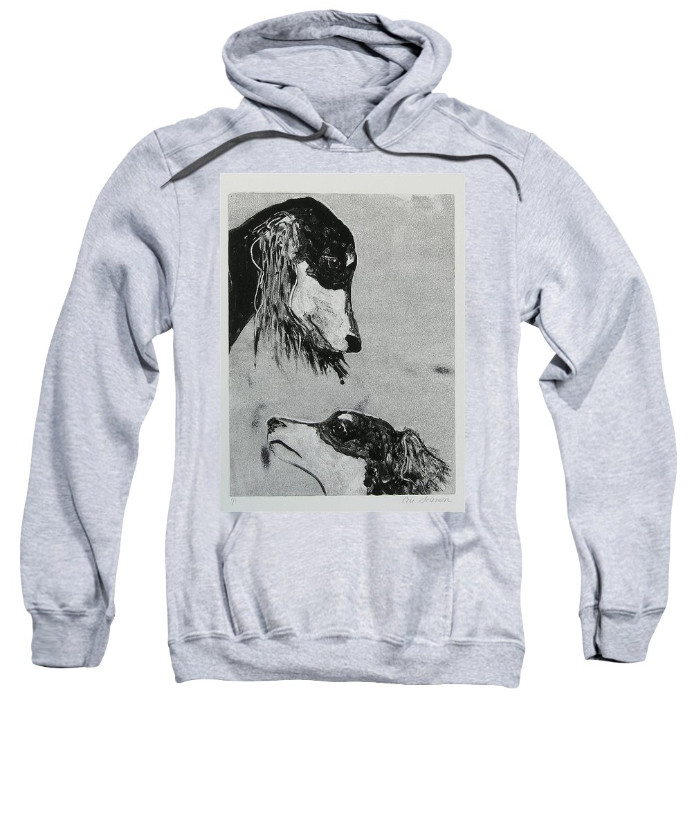 Saluki Sweatshirt featuring the mixed media Family Affair by Cori Solomon