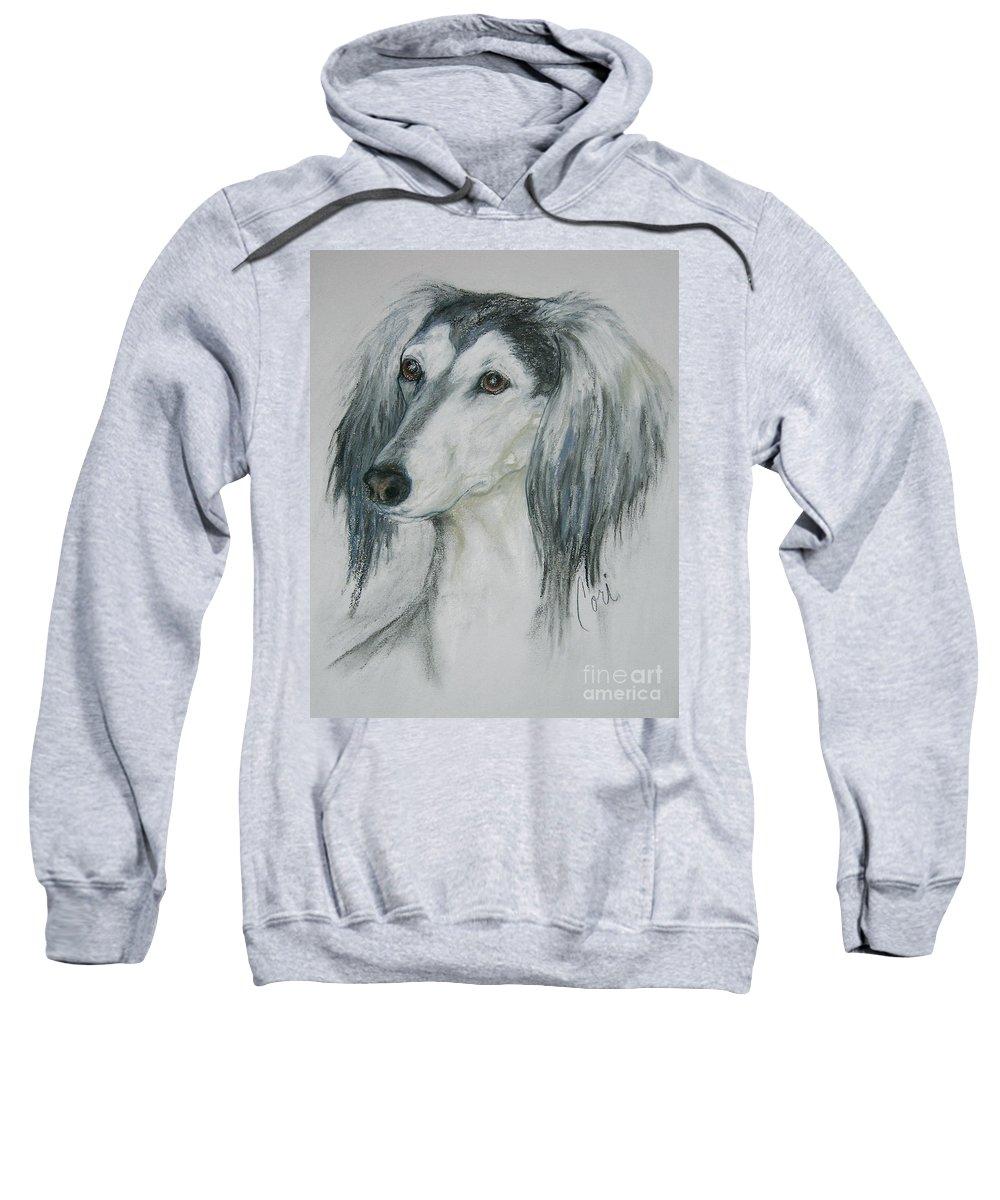 Saluki Sweatshirt featuring the drawing Fantasy's Favorite by Cori Solomon