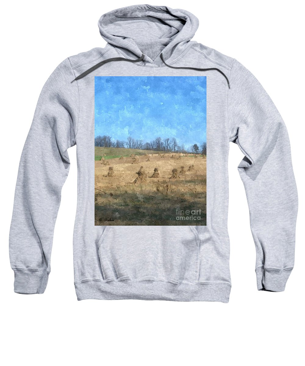 Farm Sweatshirt featuring the painting Farm Days 2 by Sara Raber