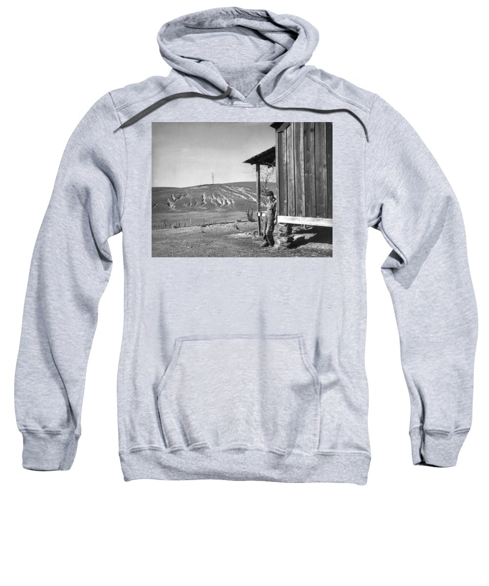 1937 Sweatshirt featuring the photograph Farm Erosion, 1937 by Granger