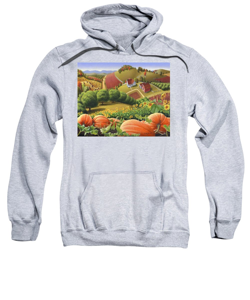 Pumpkin Sweatshirt featuring the painting Farm Landscape - Autumn Rural Country Pumpkins Folk Art - Appalachian Americana - Fall Pumpkin Patch by Walt Curlee