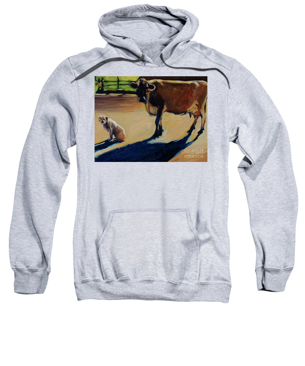 Farm Sweatshirt featuring the painting Farm Visit by Molly Poole