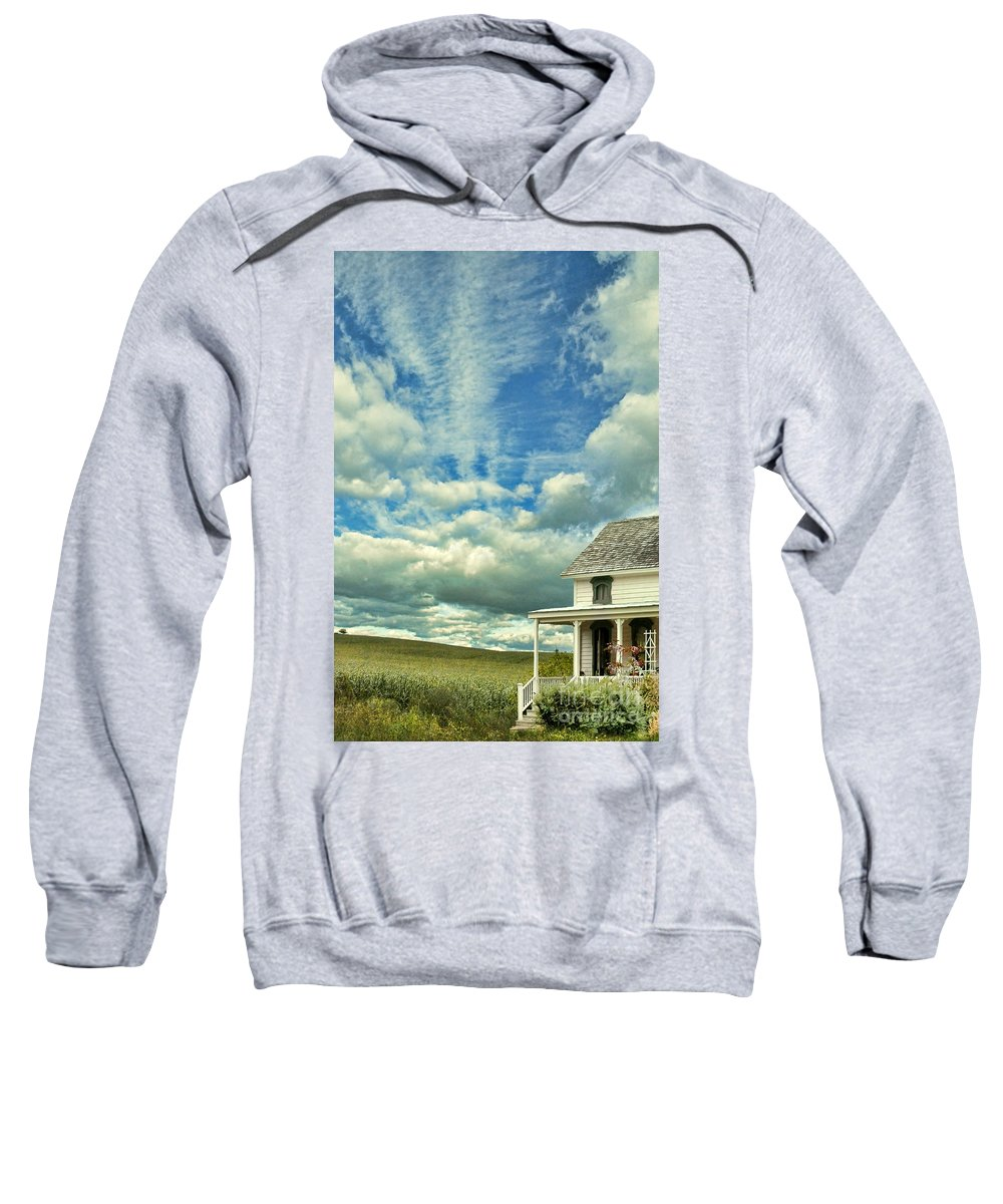House Sweatshirt featuring the photograph Farmhouse By Cornfield by Jill Battaglia