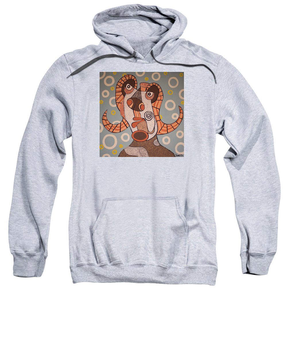 Modern Art Sweatshirt featuring the painting Fawn by Daniel Burtea