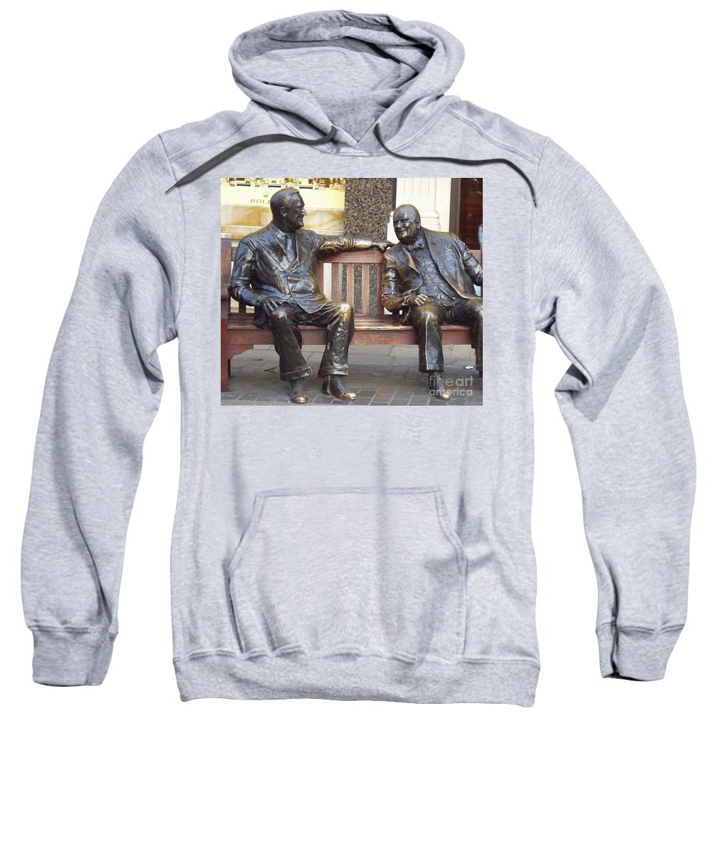 Fdr And Churchill Having A Chat In London Sweatshirt featuring the photograph Fdr And Churchill Having A Chat In London by John Telfer
