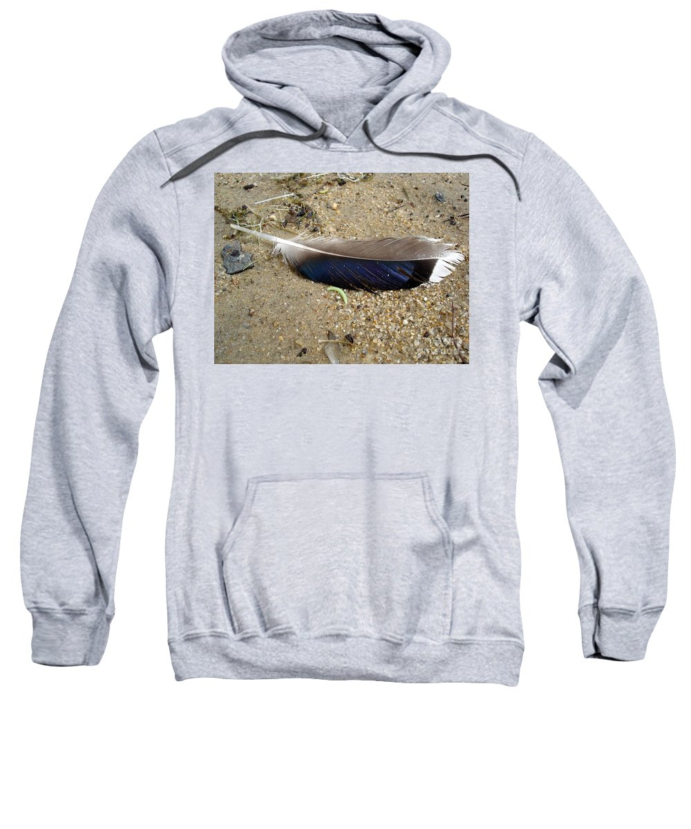 Feather Sweatshirt featuring the photograph Feather And Inchworm by Kerri Mortenson