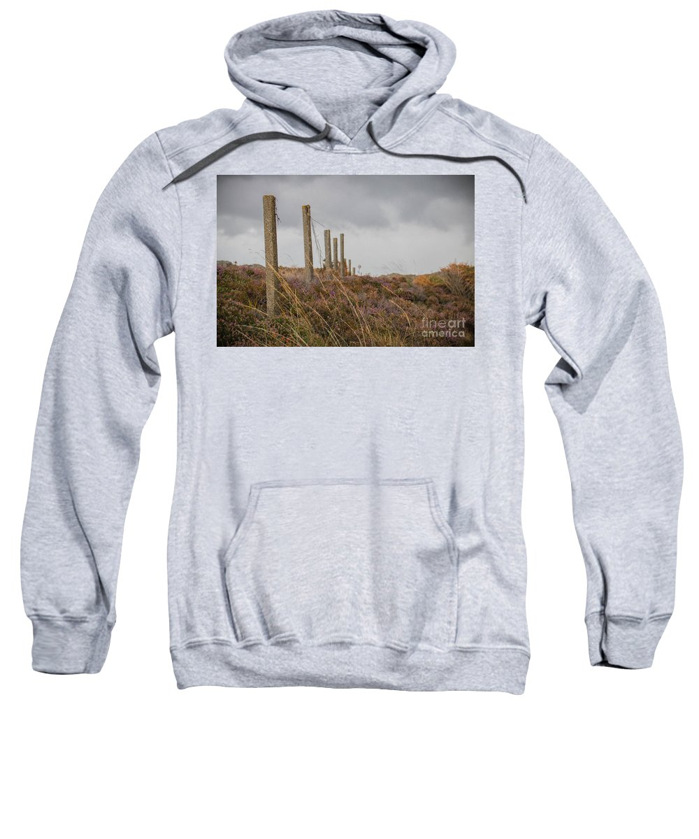 Fireweed Sweatshirt featuring the photograph Fence In The Storm In Norway by Amanda Mohler