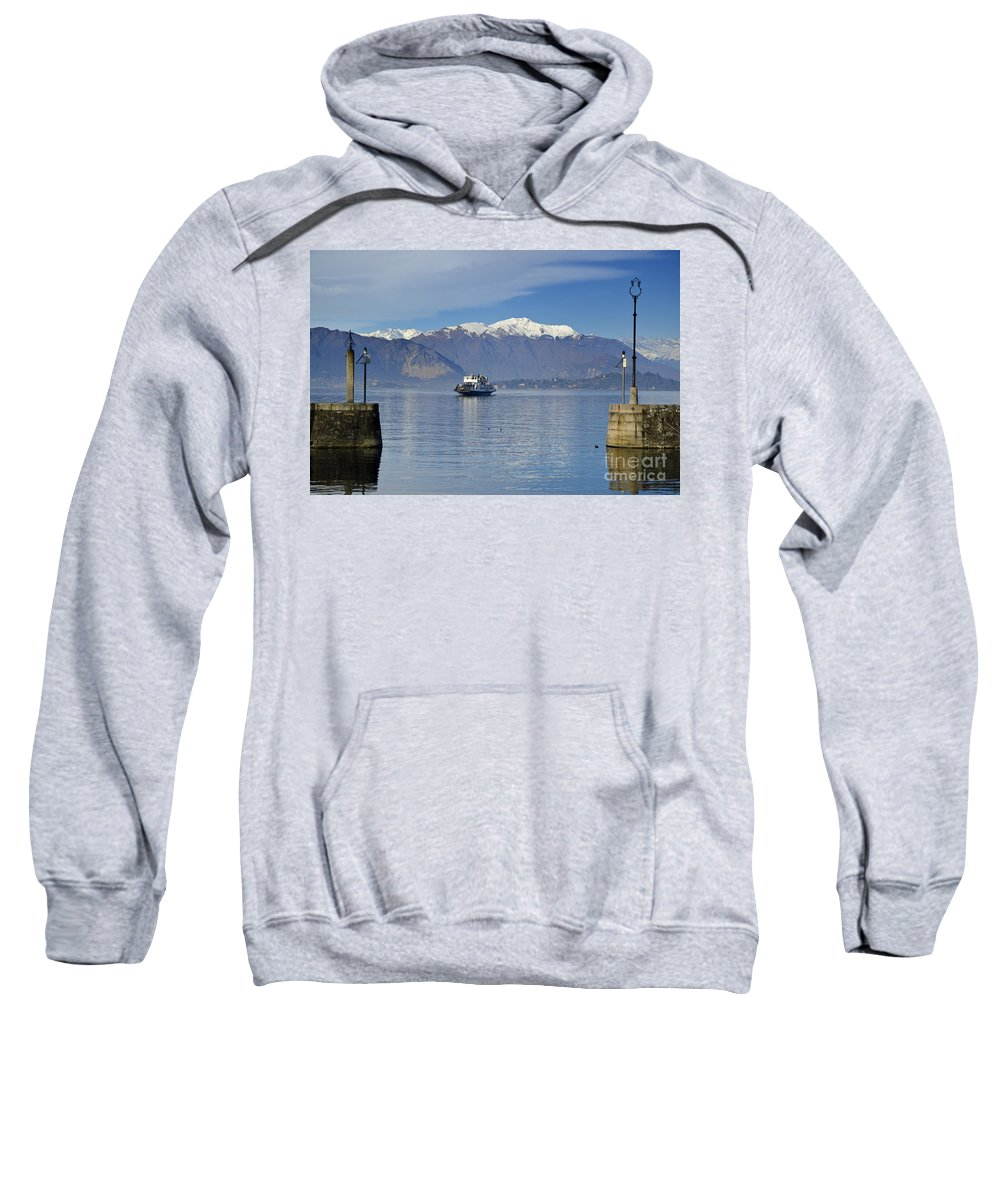 Ferry Sweatshirt featuring the photograph Ferry Boat On An Alpine Lake by Mats Silvan