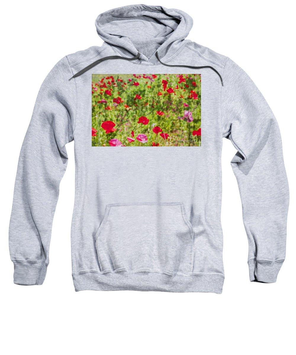 Field Of Poppies Sweatshirt featuring the photograph Field Of Poppies Digital Art Prints by Valerie Garner