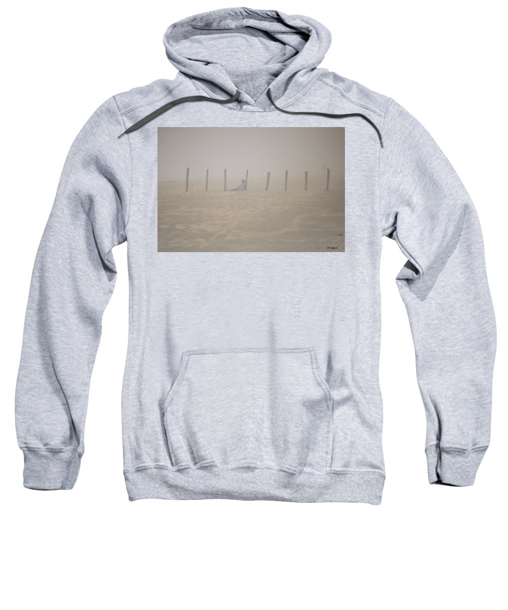 Galveston Sweatshirt featuring the photograph Figure In The Fog - A Moment Earlier by Allen Sheffield