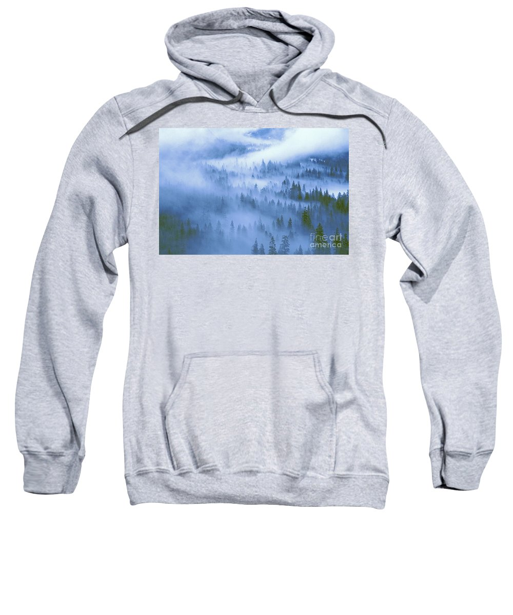 North America Sweatshirt featuring the photograph Fir Trees Shrouded In Fog In Yosemite Valley by Dave Welling