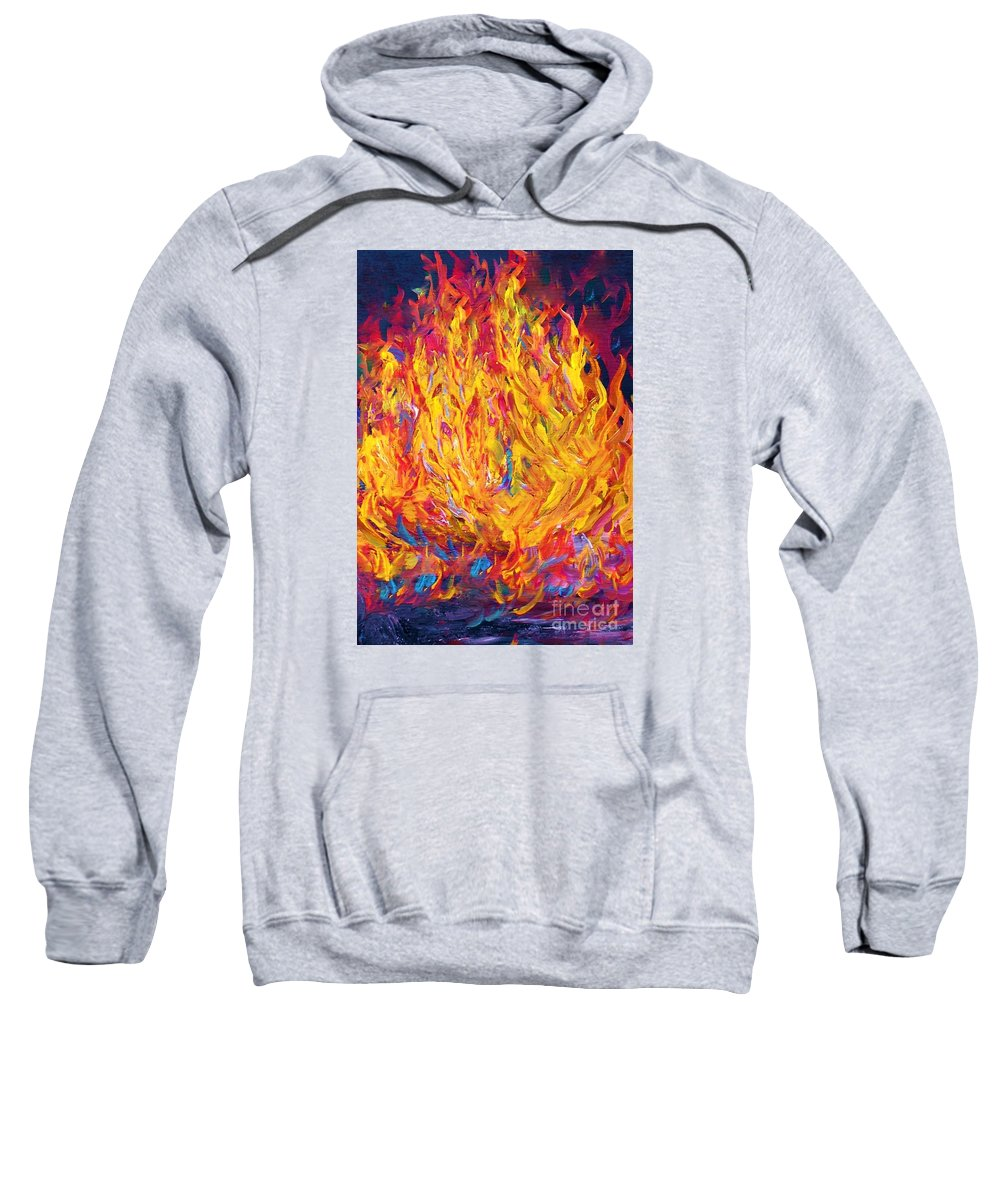 Fire Sweatshirt featuring the painting Fire And Passion - Here's To New Beginnings by Eloise Schneider Mote