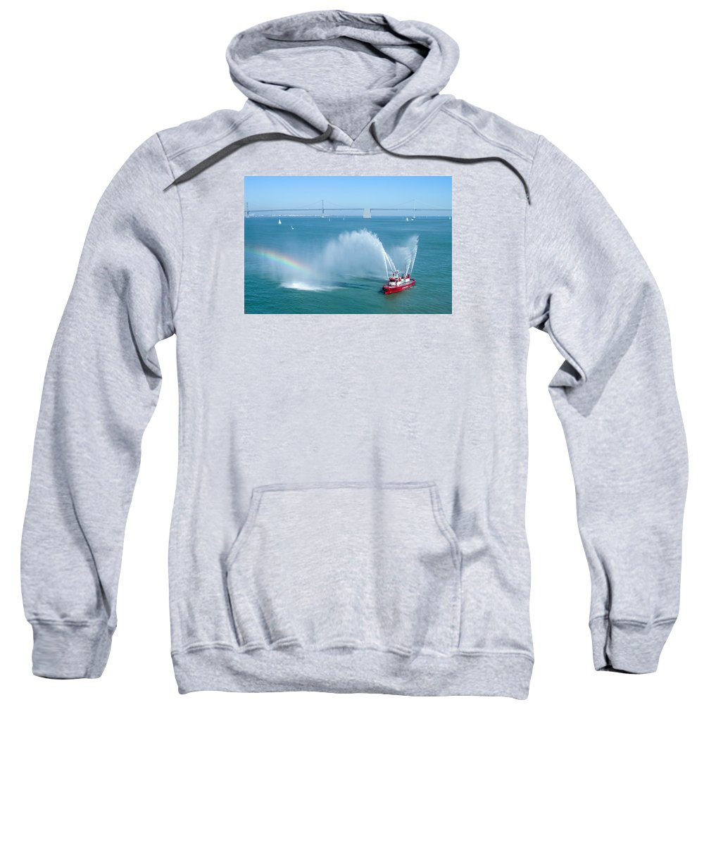 Architecture Sweatshirt featuring the photograph Fireboat Salute by John M Bailey