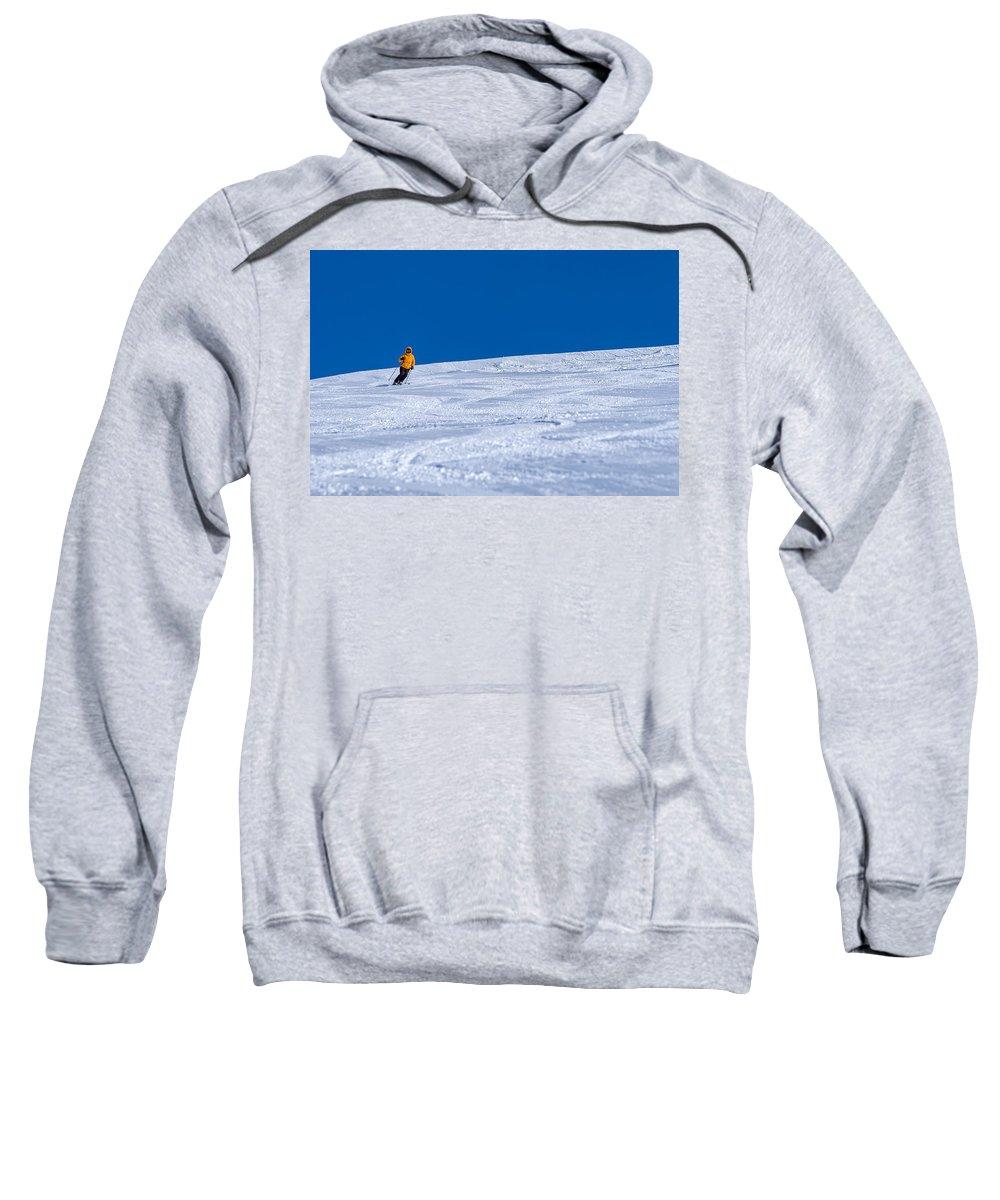 Blue Sweatshirt featuring the photograph First Run by Sebastian Musial