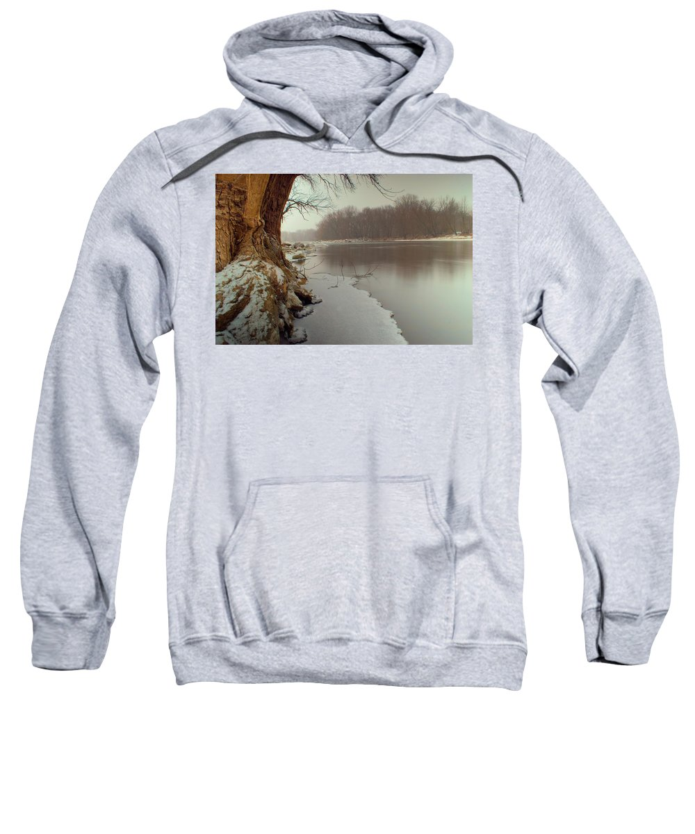 River Sweatshirt featuring the photograph First Snow by Bonfire Photography
