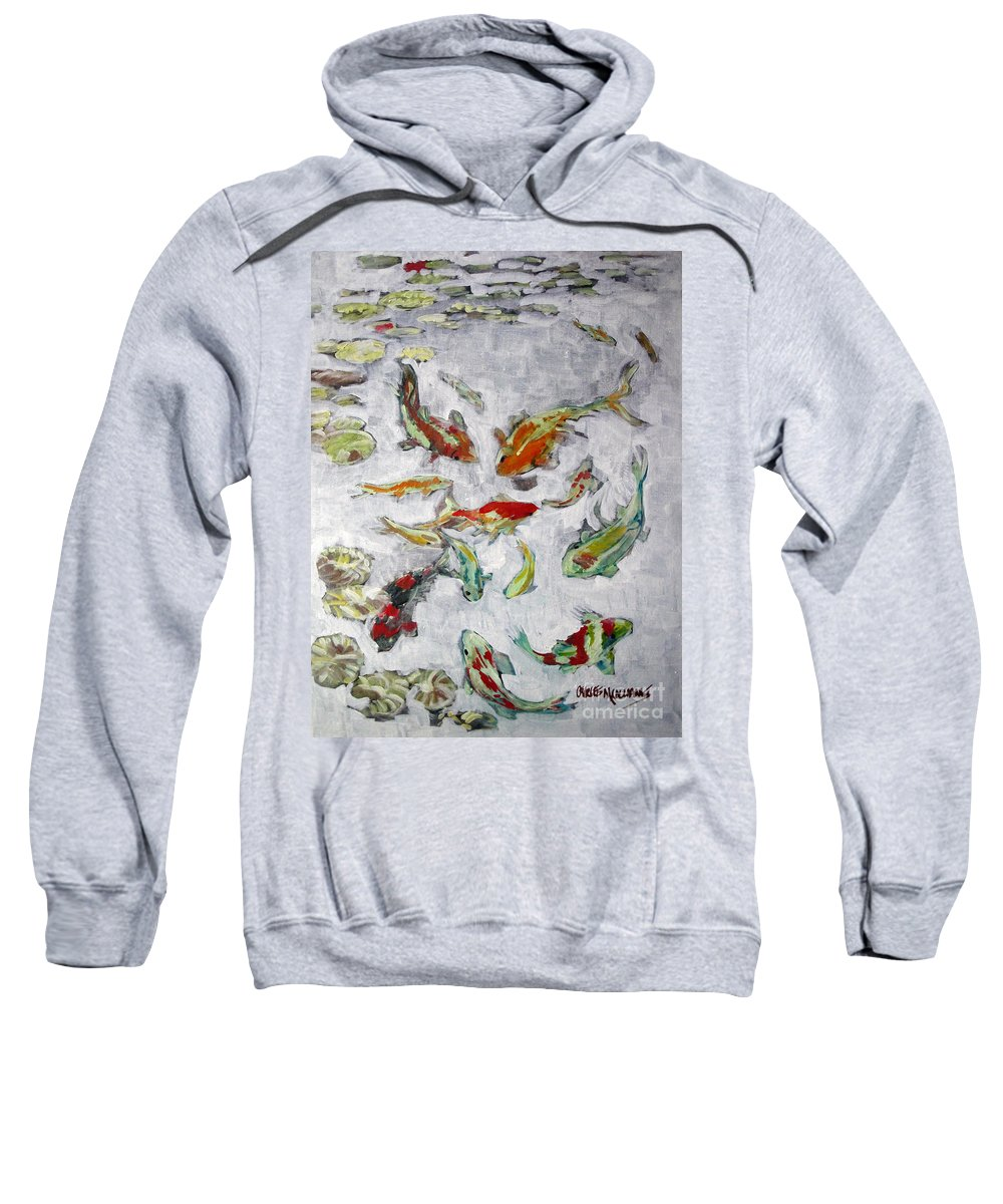 Goldfish Sweatshirt featuring the painting Fish Pond V2					 by Charles M Williams