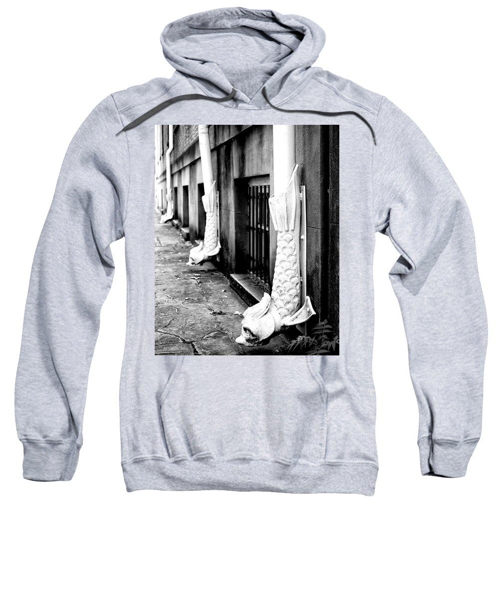 Savannah Sweatshirt featuring the photograph Go Fish Rainspouts Savannah Ga by William Dey