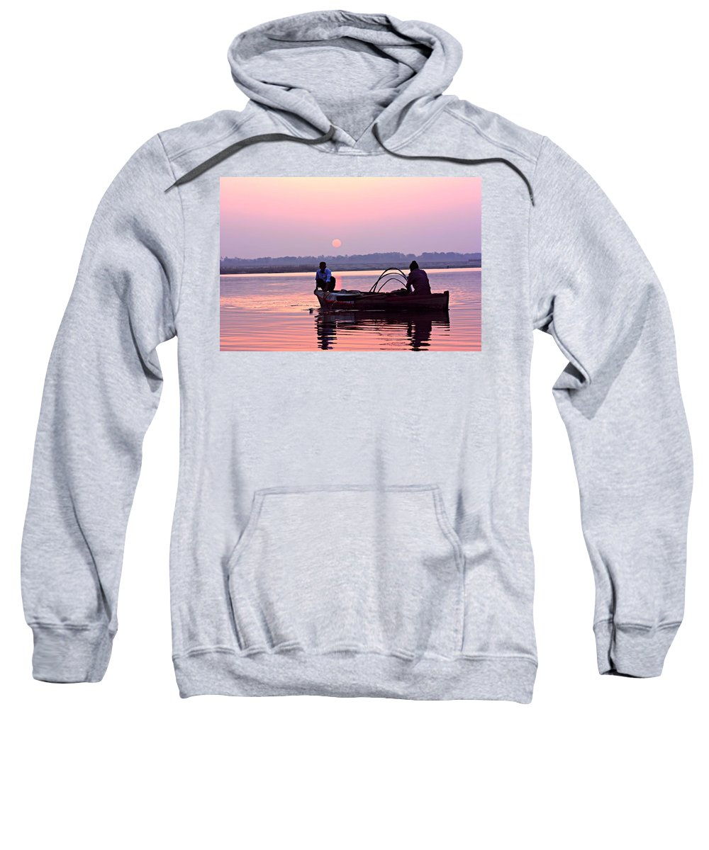 Hindu Pilgrim Sweatshirt featuring the photograph Fisherman On The Ganges River At Varanasi by Amanda Stadther