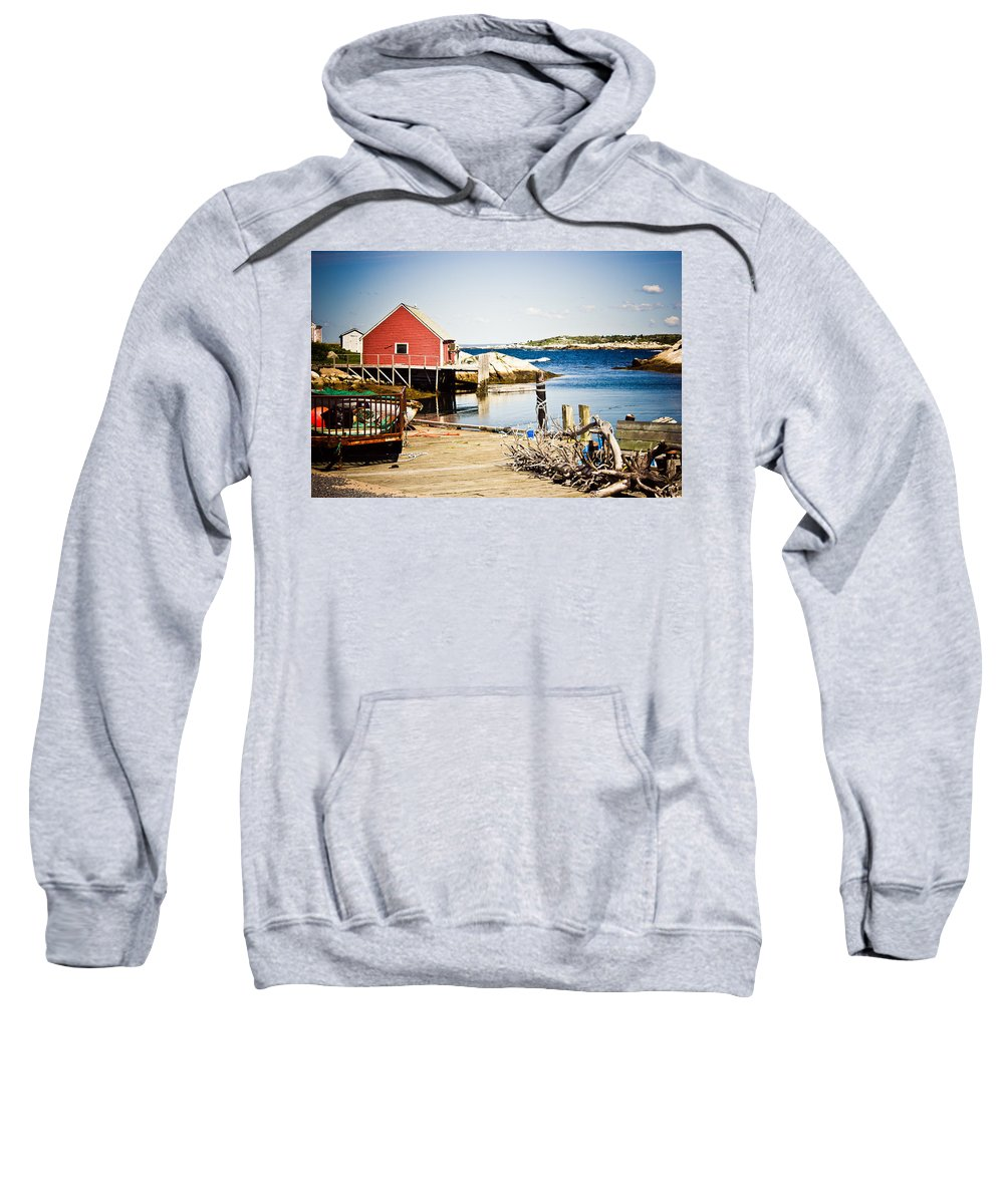 Peggy's Cove Sweatshirt featuring the photograph Fisherman's Cove by Sara Frank