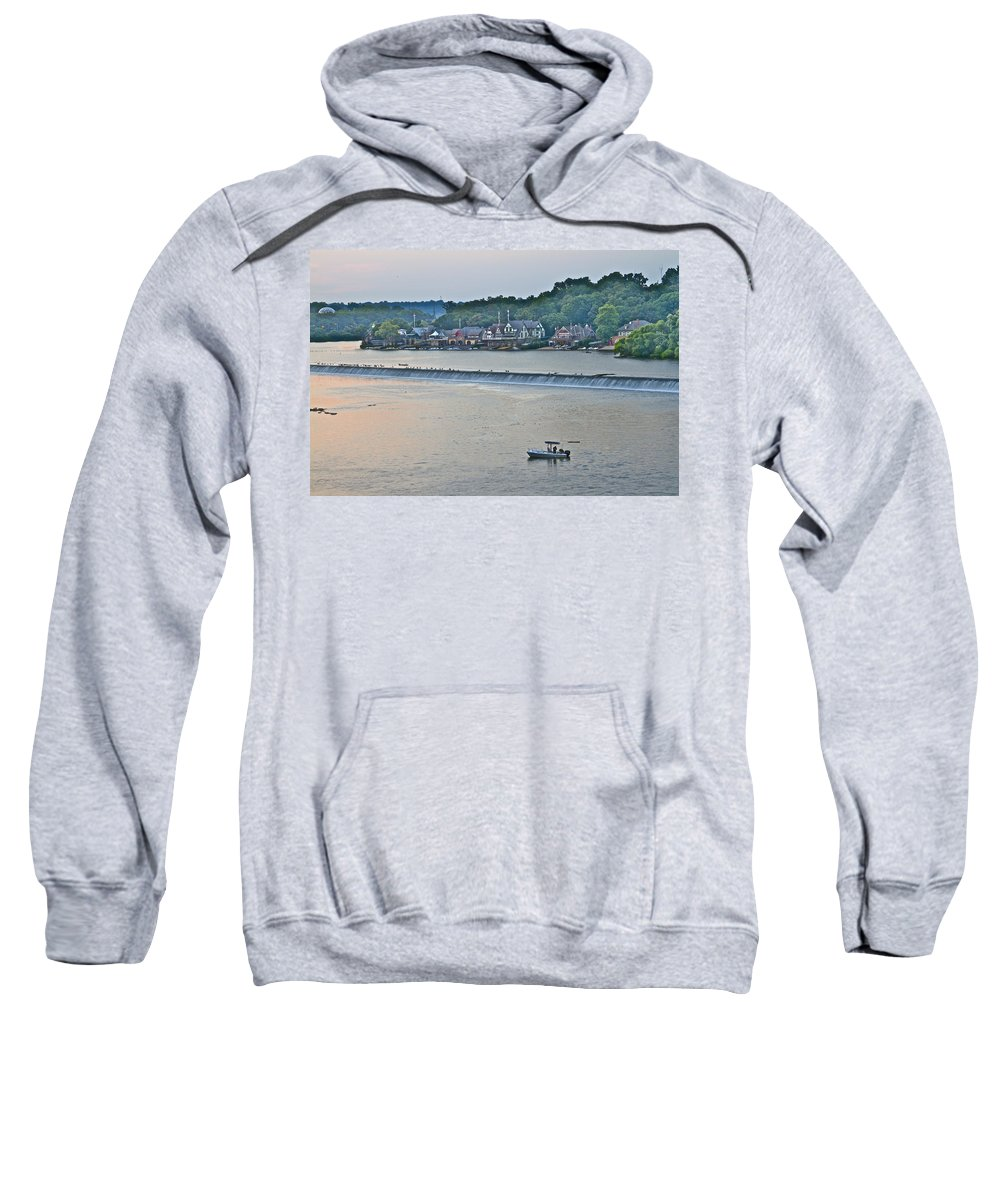 Boathouse Row Sweatshirt featuring the photograph Fishing At Boathouse Row by Alice Gipson