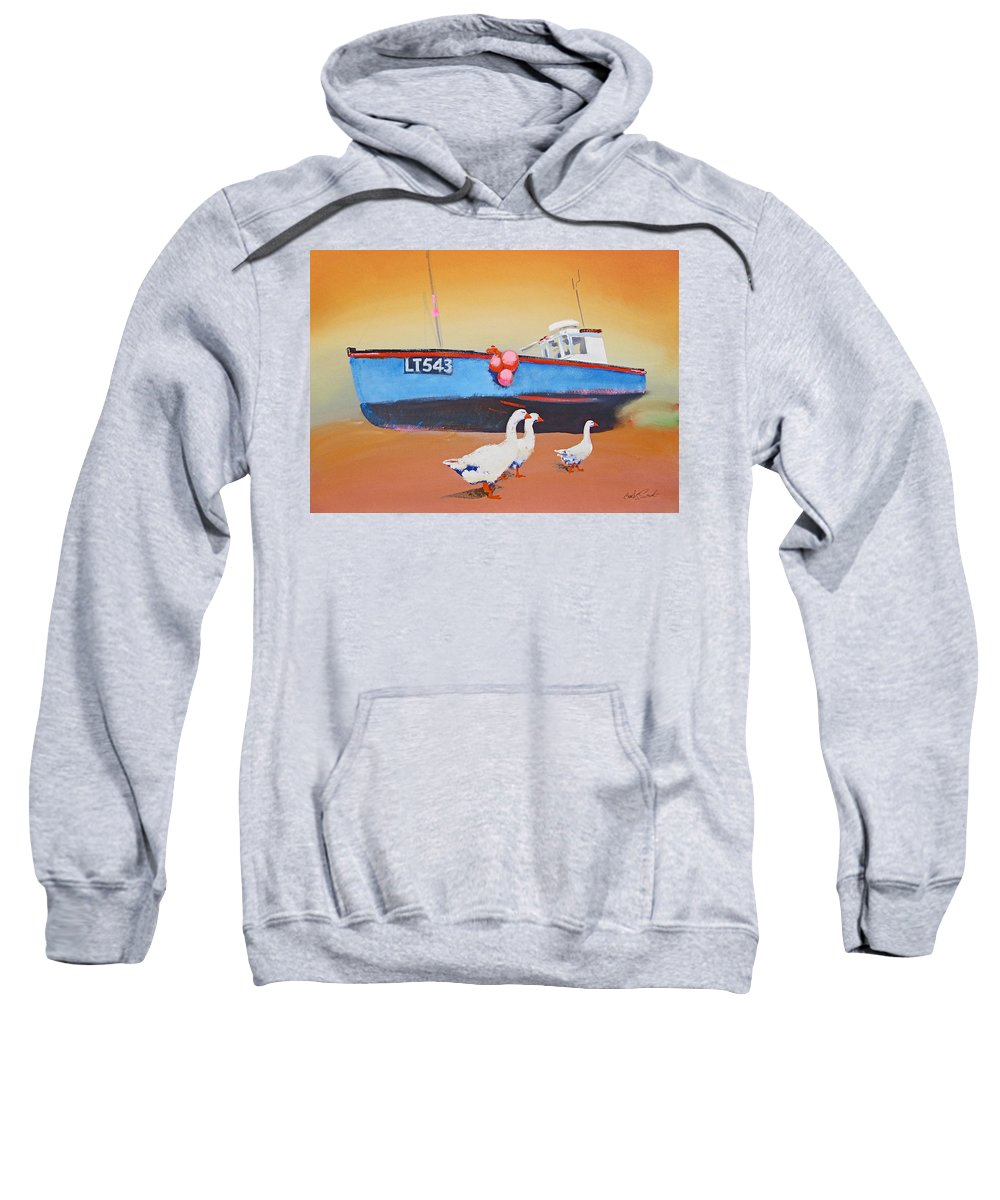 Geese Sweatshirt featuring the painting Fishing Boat Walberswick With Geese by Charles Stuart