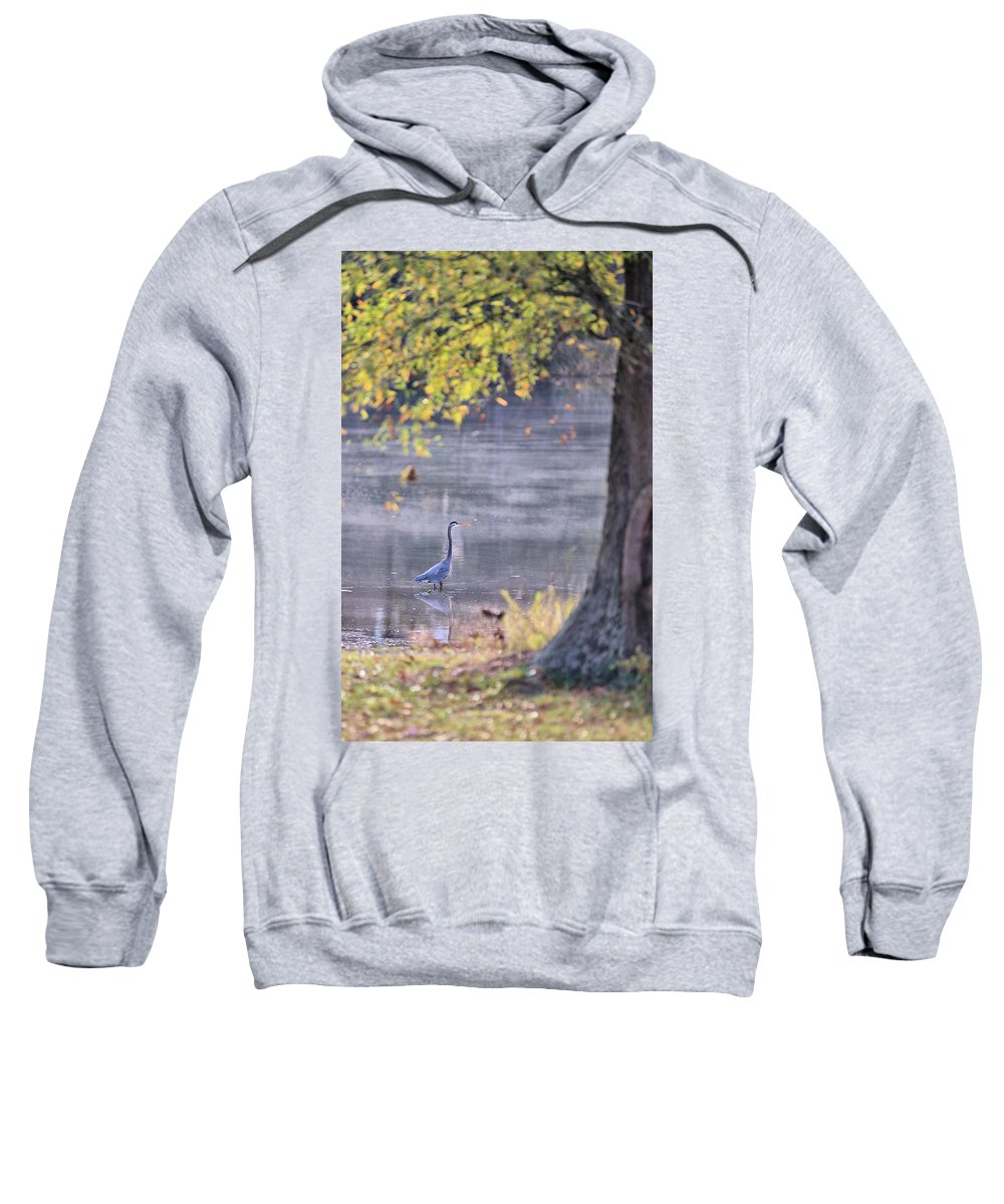 7624 Sweatshirt featuring the photograph Fishing On A Misty Pond by Gordon Elwell