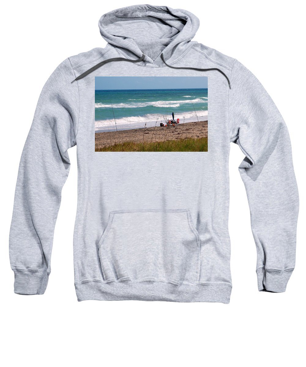 Ocean Sweatshirt featuring the photograph Fishing On The Beach by Larry Ward