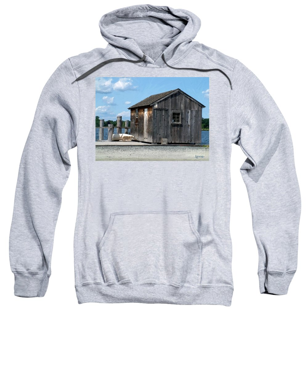 Shed Sweatshirt featuring the painting Fishing Shack On The Mystic River by RC DeWinter