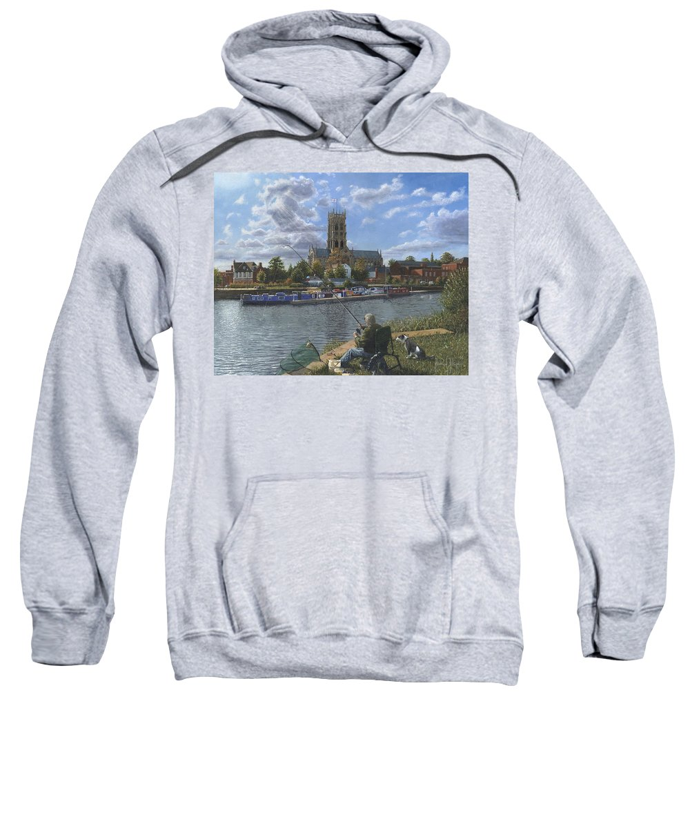 The Minster Church Of Saint George Sweatshirt featuring the painting Fishing With Oscar - Doncaster Minster by Richard Harpum