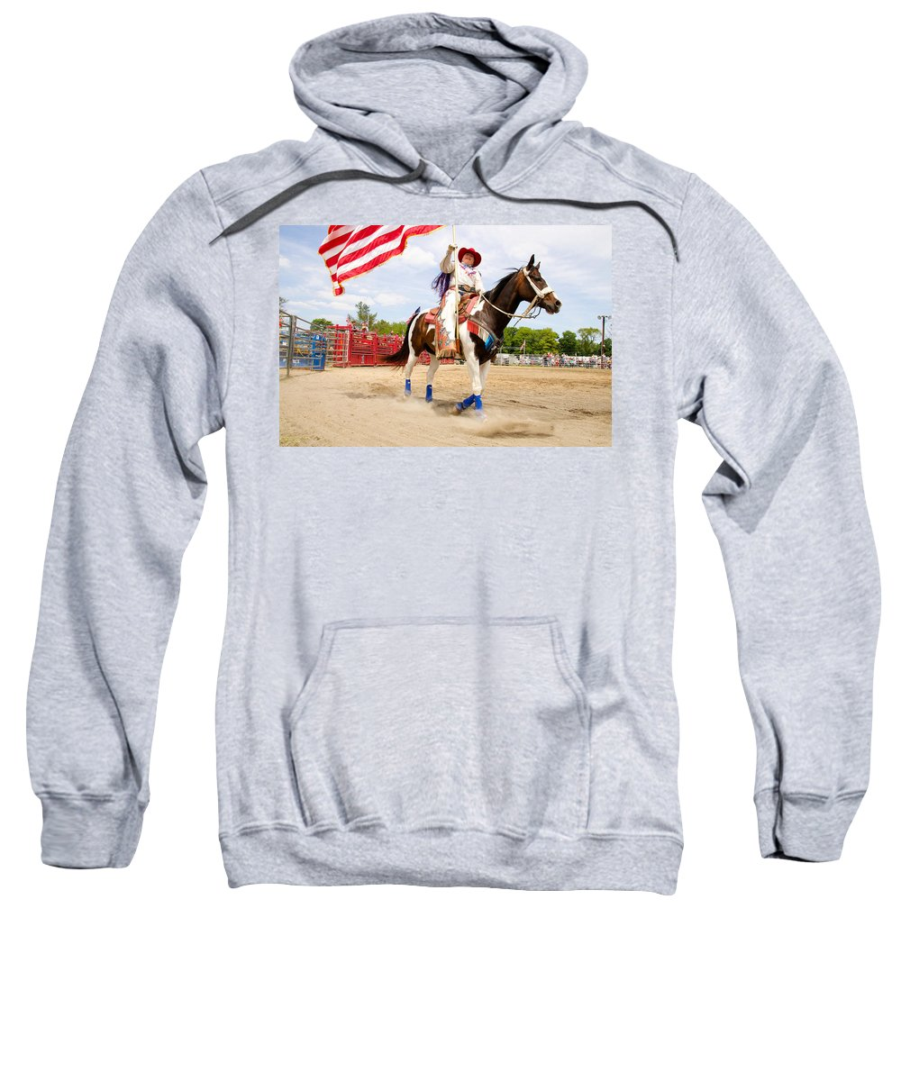 Rodeo Sweatshirt featuring the photograph Flag Lady by Alice Gipson