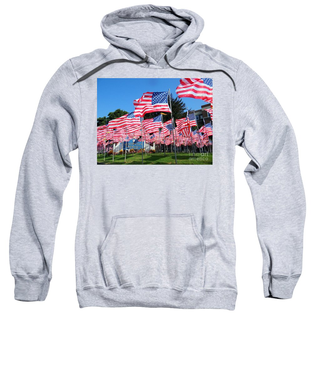 American Flags Sweatshirt featuring the photograph Flags Of Glory by Ed Weidman