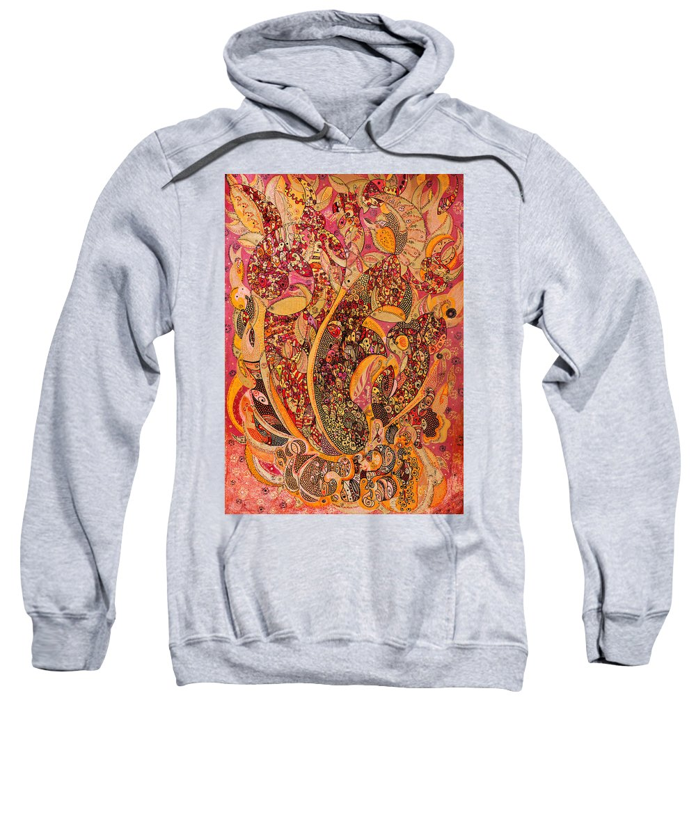 Flames Sweatshirt featuring the painting Flames by Alex Art and Photo