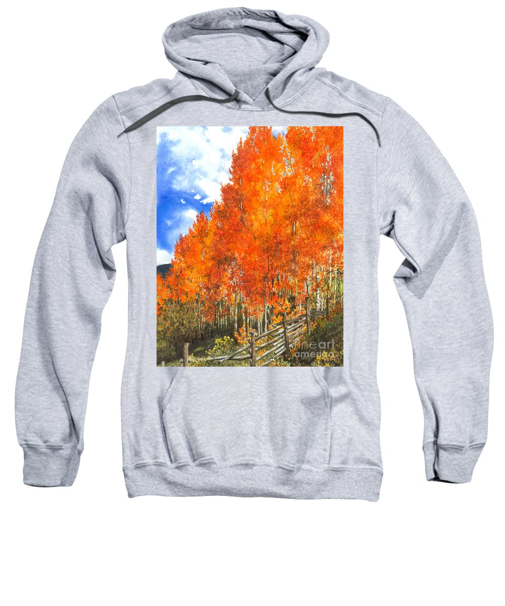 Water Color Paintings Sweatshirt featuring the painting Flaming Aspens by Barbara Jewell
