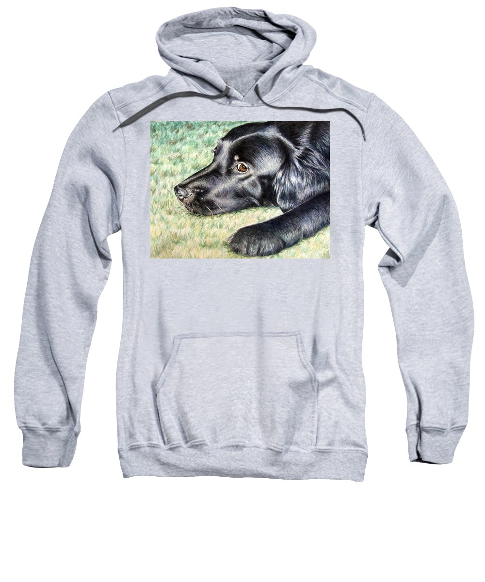 Dog Sweatshirt featuring the painting Flat Coated Retriever by Nicole Zeug