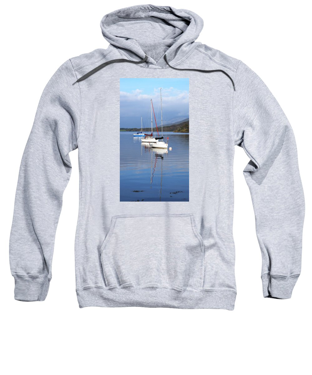 Boat Sweatshirt featuring the photograph Floating On Blue 13 by Wendy Wilton
