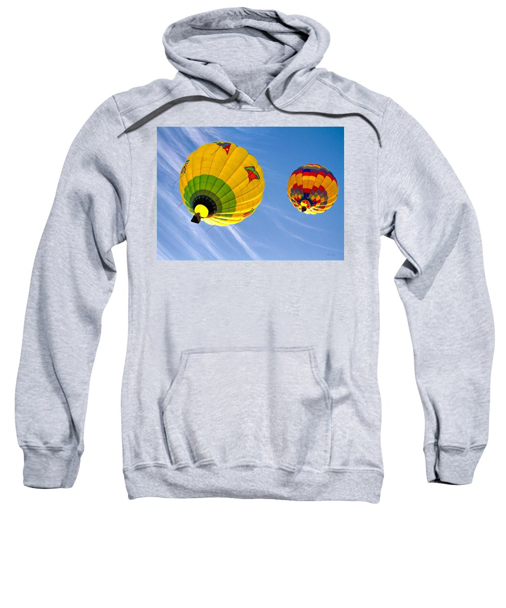 Hot Air Balloon Sweatshirt featuring the photograph Floating Upward Hot Air Balloons by Bob Orsillo